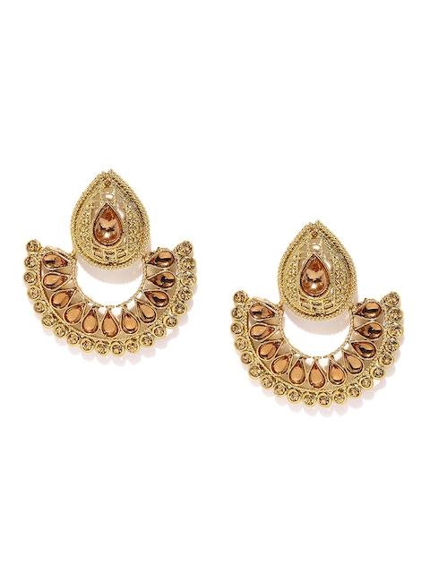 Zaveri Pearls Gold-Plated Embellished Chandbali Earrings