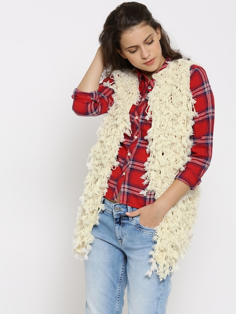 FOREVER 21 Off-White Open Knit Tasseled Shrug