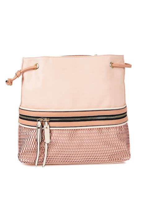 DressBerry Peach Textured Backpack Cum Handbag