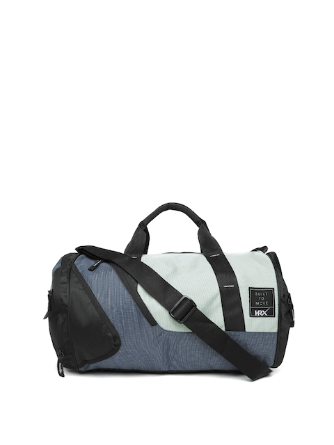 HRX by Hrithik Roshan Unisex Grey & Navy Blue Colourblocked Training Duffel Bag