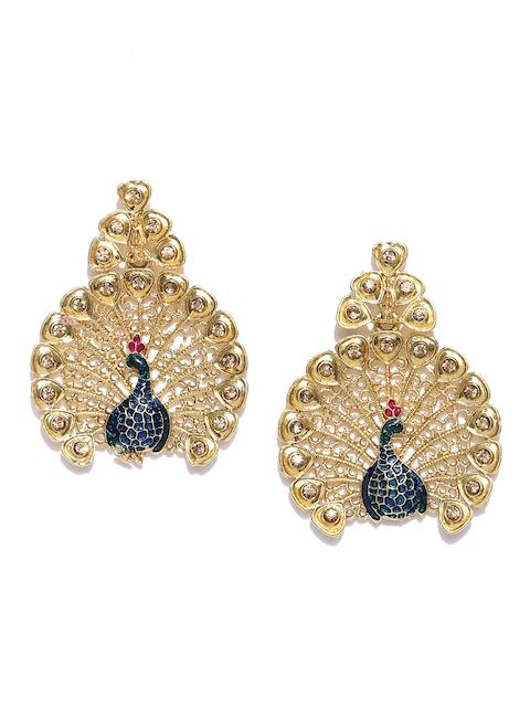 Zaveri Pearls Blue Gold-Plated Peacock-Shaped Drop Earrings