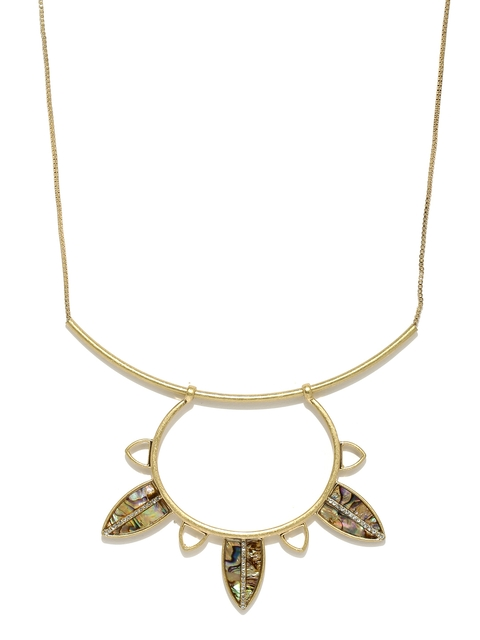 Golden Peacock Gold-Plated Leaf-Shaped Necklace