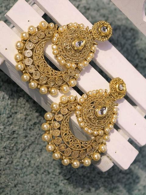 PANASH Gold-Plated Beaded Handcrafted Chandbalis