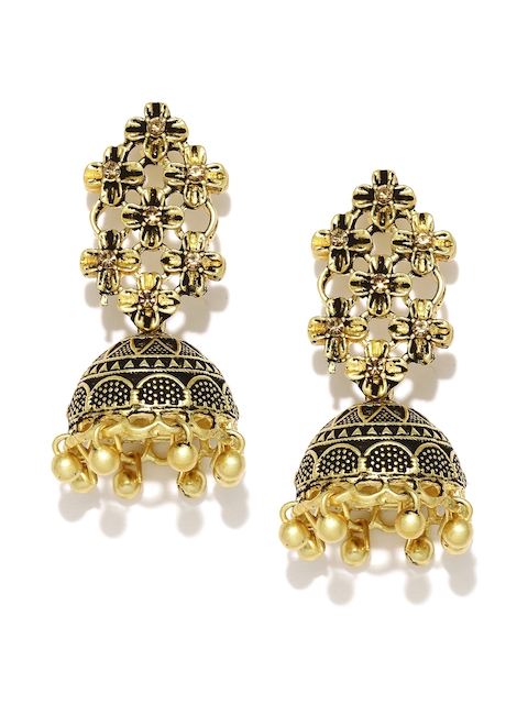 Zaveri Pearls Antique Gold-Plated Textured Floral Jhumkas