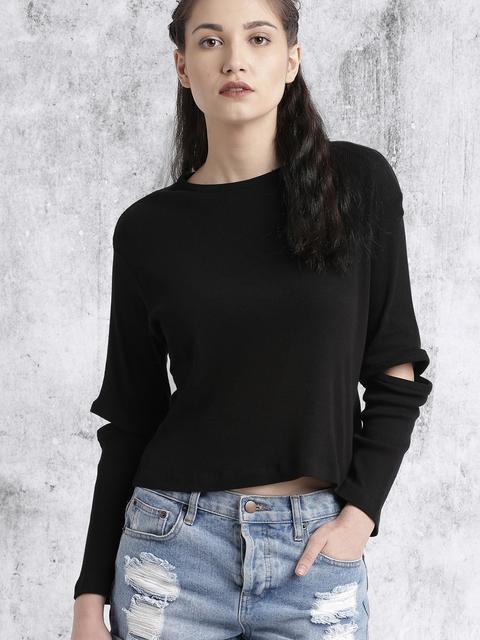Roadster Women Black Solid Top