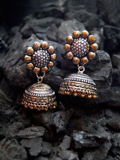 Rubans Oxidised Silver & Antique Gold-Toned Dome-Shaped Jhumkas