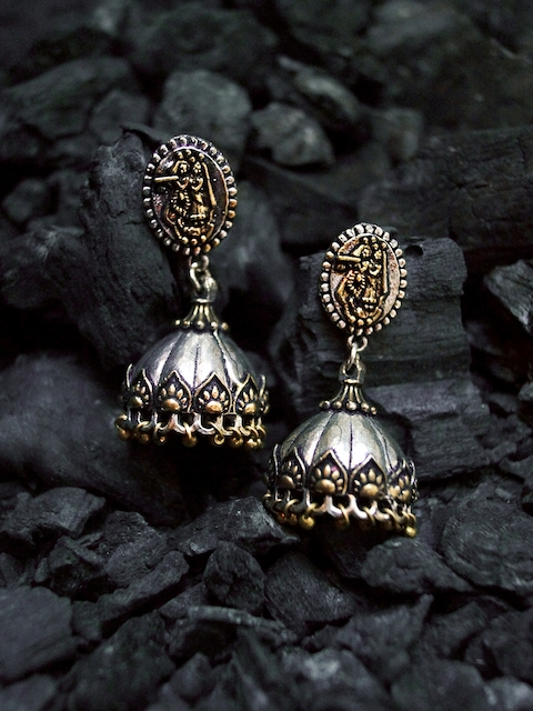 Rubans Oxidised Silver-Toned & Gold-Toned Dome-Shaped Jhumkas