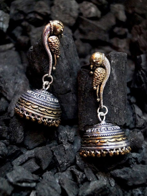 Rubans Oxidised Antique Gold-Toned & Silver-Toned Dome-Shaped Jhumkas