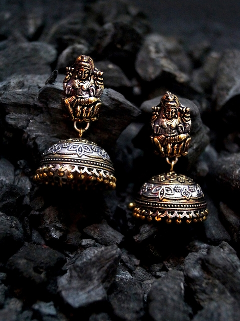 Rubans Antique Oxidised Gold & Silver-Toned Dome-Shaped Jhumkas
