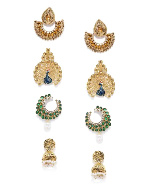 Zaveri Pearls Set of 4 Gold-Plated Earrings