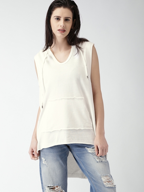 FOREVER 21 Women Off-White Solid High-Low Hooded Top