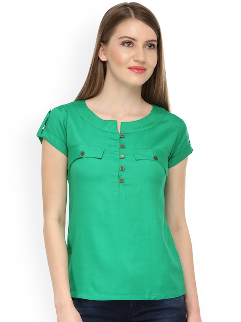 Cation Women Green Solid Top