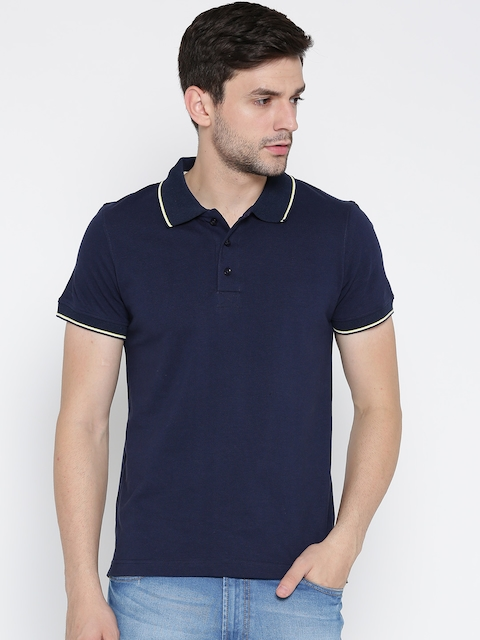 Aventura Outfitters Men Navy Solid Polo Collar T-shirt