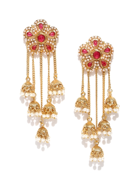 PANASH Pink Gold-Plated Floral Handcrafted Stone-Studded Jhumkas