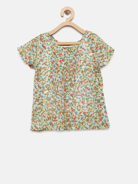 Palm Tree Girls Green & Cream-Coloured Floral Print A-Line Top