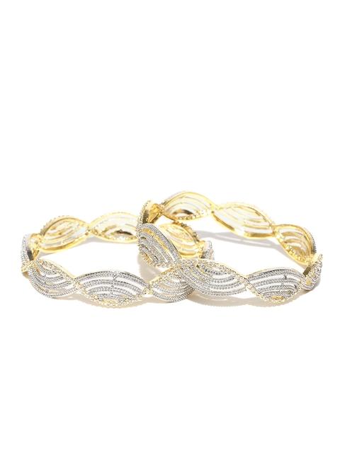 YouBella Set of 2 Gold-Plated American Diamond Studded Bangles