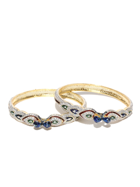 YouBella Set of 2 Gold-Plated Peacock-Shaped American Diamond Studded Bangles