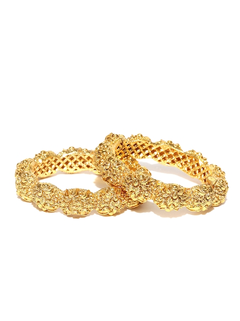 YouBella Set of 2 Gold-Plated Textured Bangles