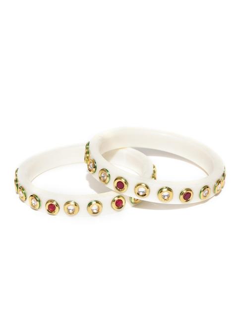 YouBella Set of 2 Off-White Gold-Plated Kundan Stone-Studded Bangles