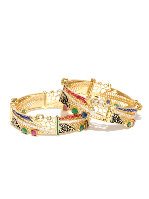 YouBella Set of 2 Green & Blue Gold-Plated Stone-Studded Bangles