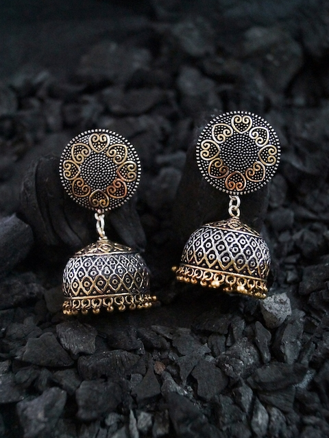 Rubans Silver-Toned & Gold-Toned Dome-Shaped Jhumkas