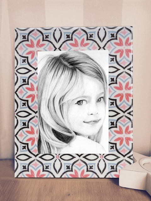 RANGRAGE Off-White & Pink Handcrafted Ethnic Print Single Photo Frame