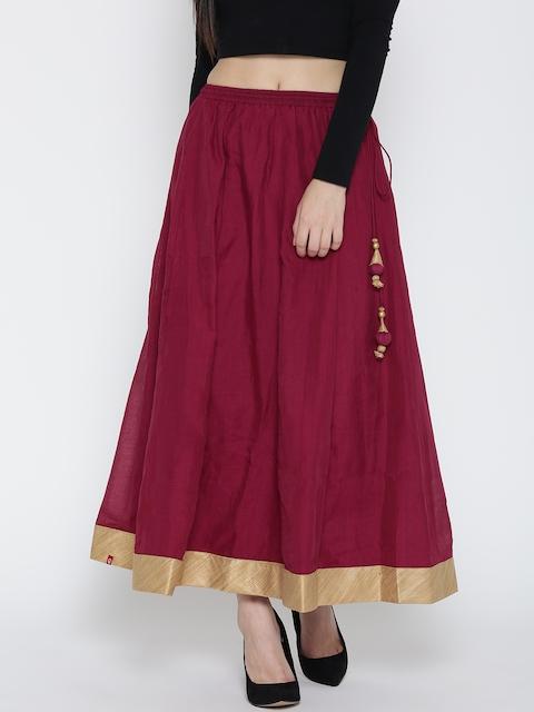 Biba Maroon Maxi Flared Skirt