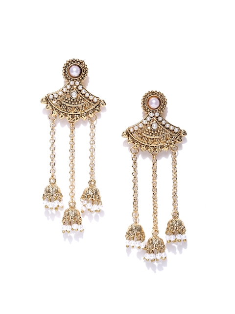 Zaveri Pearls Antique Gold-Plated Stone-Studded Beaded Jhumkas