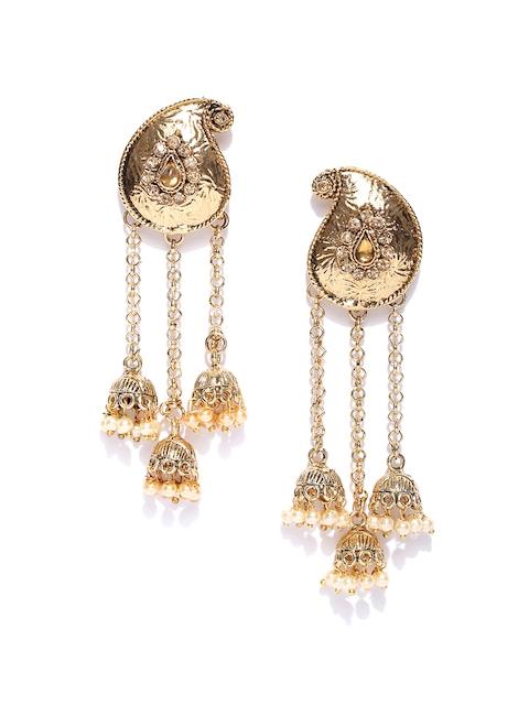 Zaveri Pearls Gold-Plated Drop Earrings