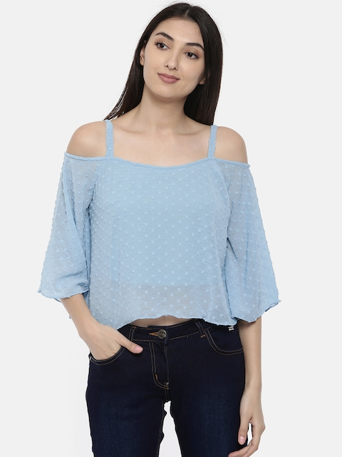 AND Women Blue Self Design Top