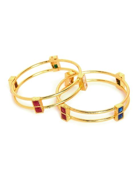 PANASH Set of 2 Gold-Toned Embellished Bangles