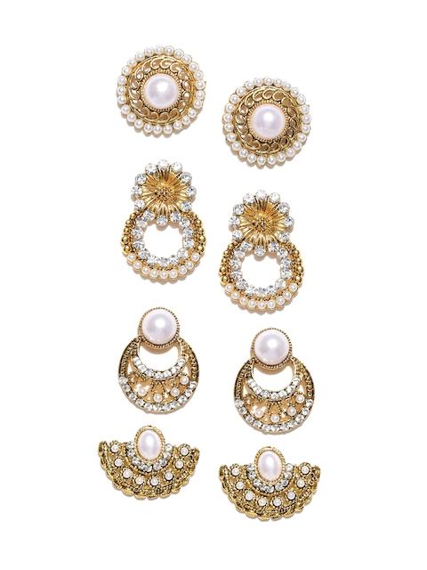 Zaveri Pearls Set of 4 Gold-Toned & Off-White Earrings