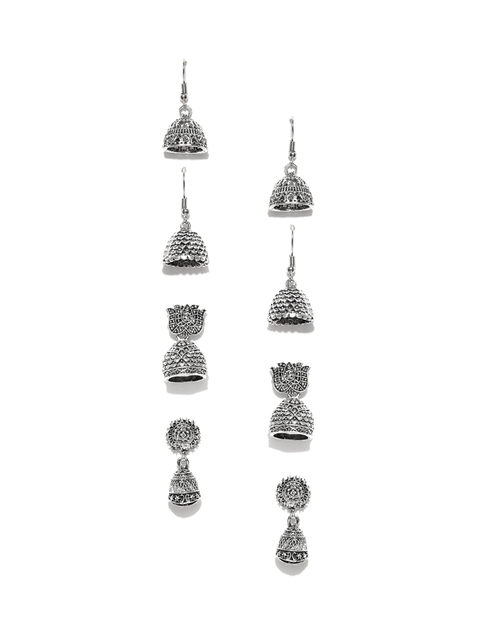 Zaveri Pearls Set of 4 Oxidised Silver-Plated Dome-Shaped Jhumkas