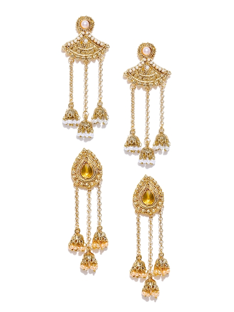 Zaveri Pearls Set of 2 Gold-Plated Stone-Studded Drop Earrings