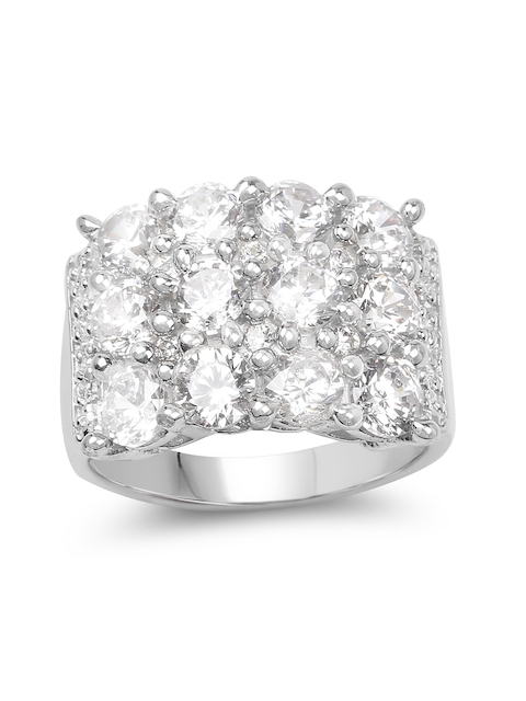 Johareez .925 Sterling Silver Cluster Ring with 5.56CTW Cubic Zirconia Stones