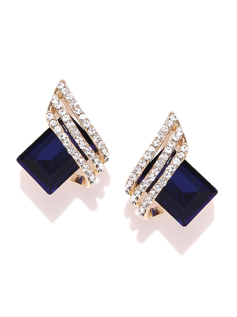 Jewels Galaxy Navy Gold-Plated Handcrafted Geometric Studs