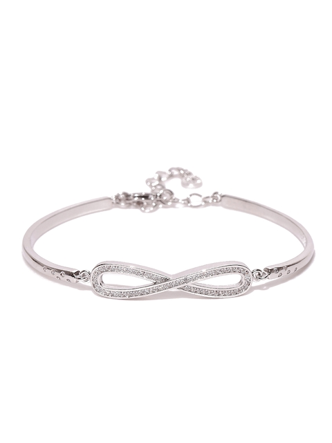 Jewels Galaxy Silver-Toned Platinum-Plated Handcrafted Bangle-Style Bracelet