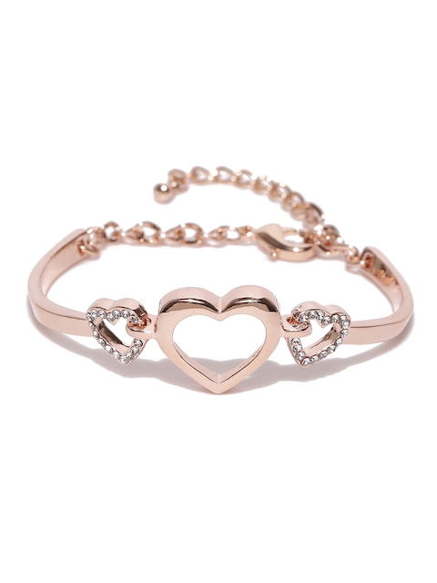 Jewels Galaxy Rose Gold-Plated Handcrafted Bangle-Style Bracelet