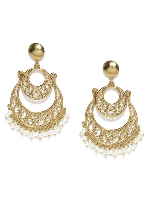 Zaveri Pearls Off-white Gold-Plated Chandbalis