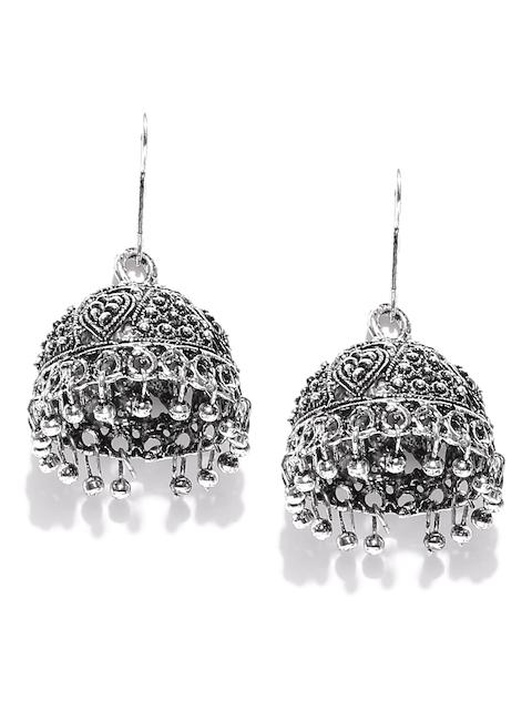 Zaveri Pearls Oxidised Silver-Plated Dome Shaped Jhumkas