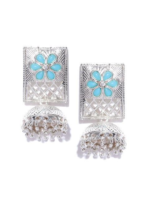 Zaveri Pearls Blue Silver-Plated Dome Shaped Jhumkas