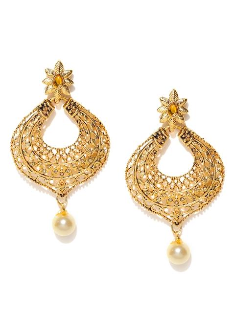 Zaveri Pearls Cream-Coloured Gold-Plated Stone-Studded Chandbalis