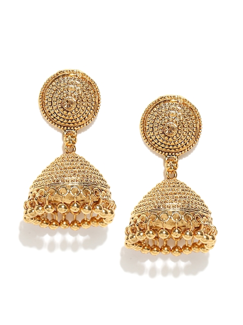 Zaveri Pearls Gold-Plated Dome Shaped Textured Jhumkas
