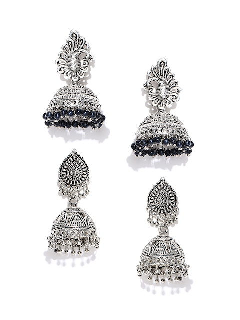 Zaveri Pearls Set of 2 Silver-Plated Dome Shaped Jhumkas