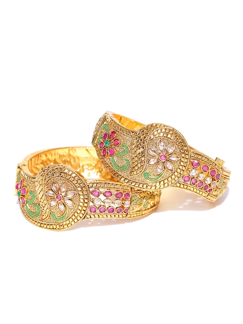 YouBella Set of 2 Gold-Toned Textured Stone-Studded Bangles