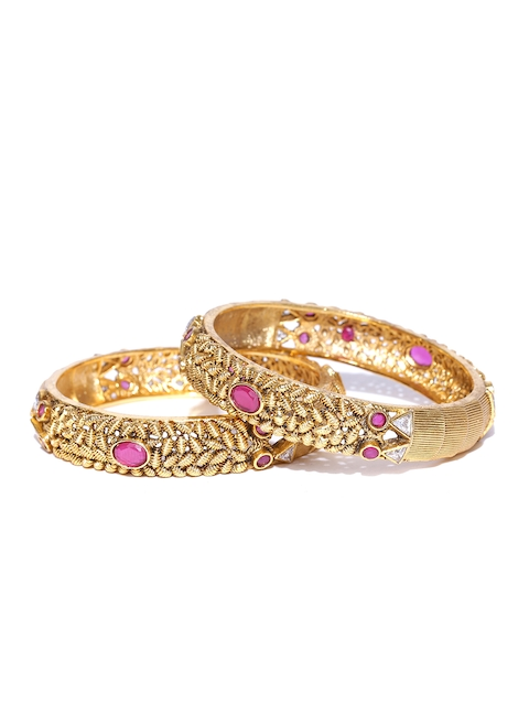YouBella Set of 2 Gold-Toned & Pink Textured Stone-Studded Bangles