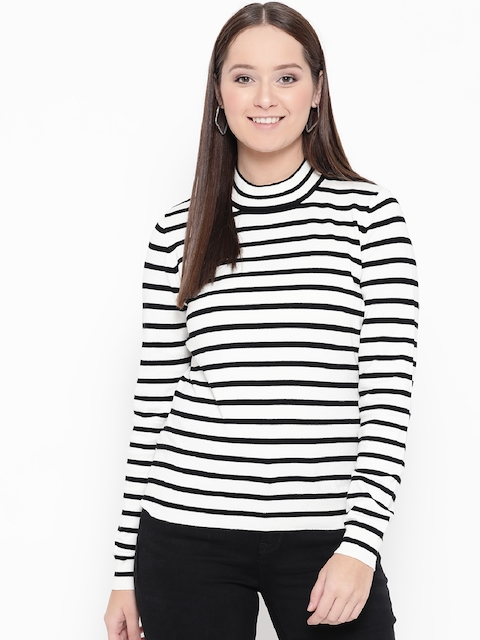 Vero Moda Women White & Black Striped Top