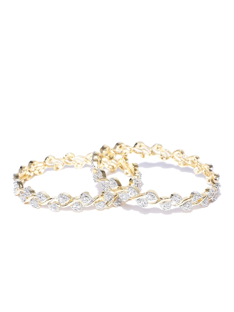 YouBella Set of 2 Silver-Toned & Gold-Toned Stone-Studded Bangles