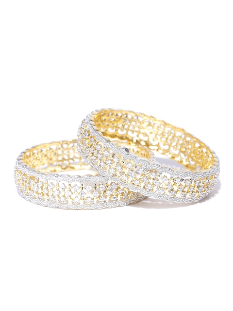 YouBella Set of 2 Silver & Gold-Toned Stone-Studded Bangles