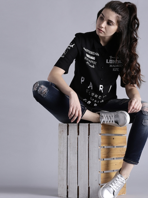 Kook N Keech Women Black Regular Fit Printed Casual Shirt